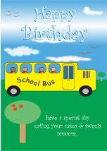 School Bus - Black Birthday Card for Children