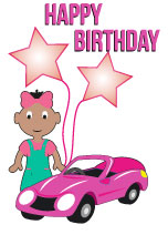 Girl aged 1 with Balloons - Black Birthday Card for Children