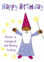 Boy Wizard - Black Birthday Card for Children