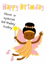 Girl Fairy - Black Birthday Card for Children