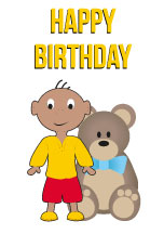Boy aged 2 - Black Birthday Card for Children