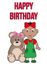 Girl aged 2 - Black Birthday Card for Children