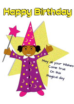 Black Boy Wizard 13 today - Black Birthday Card for Children