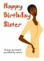 Birthday Card for Sister - Black Birthday Card for Her Relations