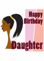 Braided Pony Daughter - Black Birthday Card for Her Relations
