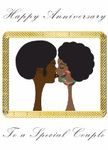 Afro couple - Anniversary Card