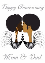 Afro mom and dad - Anniversary Card